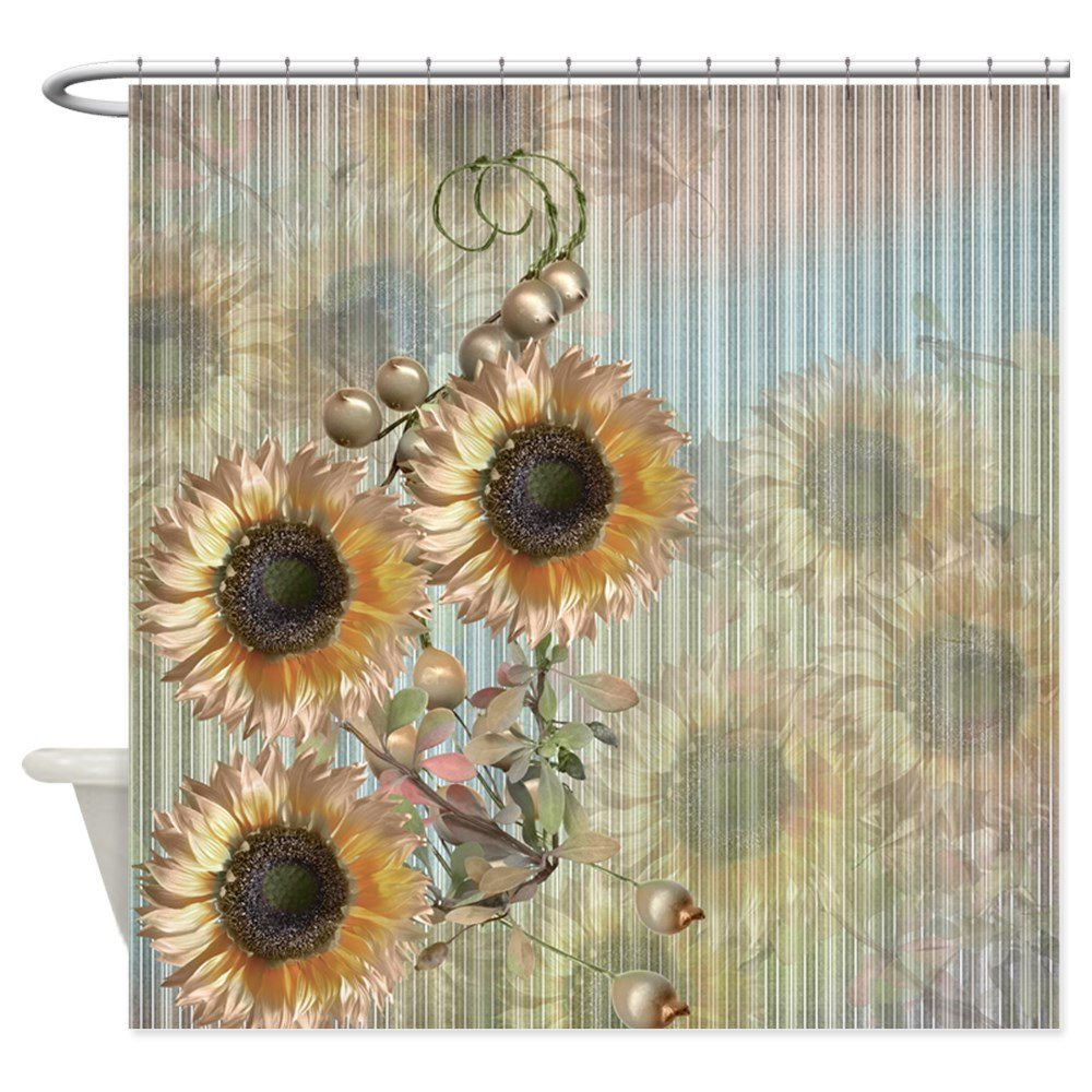 CafePress Country Sunflowers Shower Curtain Decorative Fabric Shower Curtain (69''x70'')