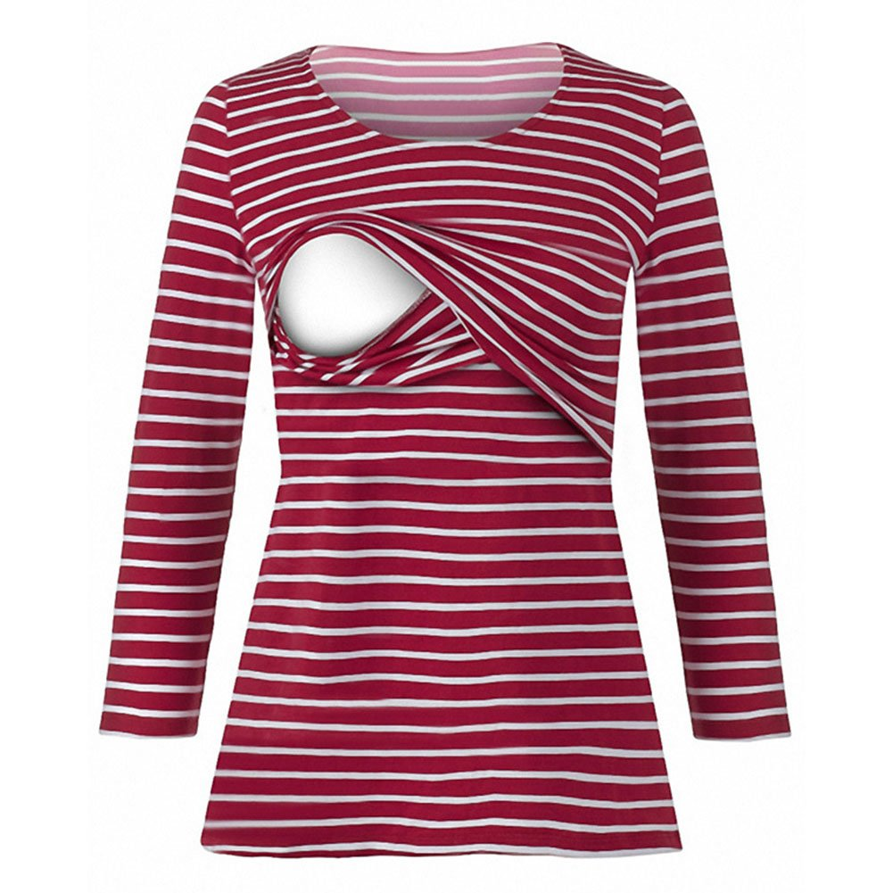 Gagacity Striped Breastfeeding Shirt Nursing Tops for Pregnant Women
