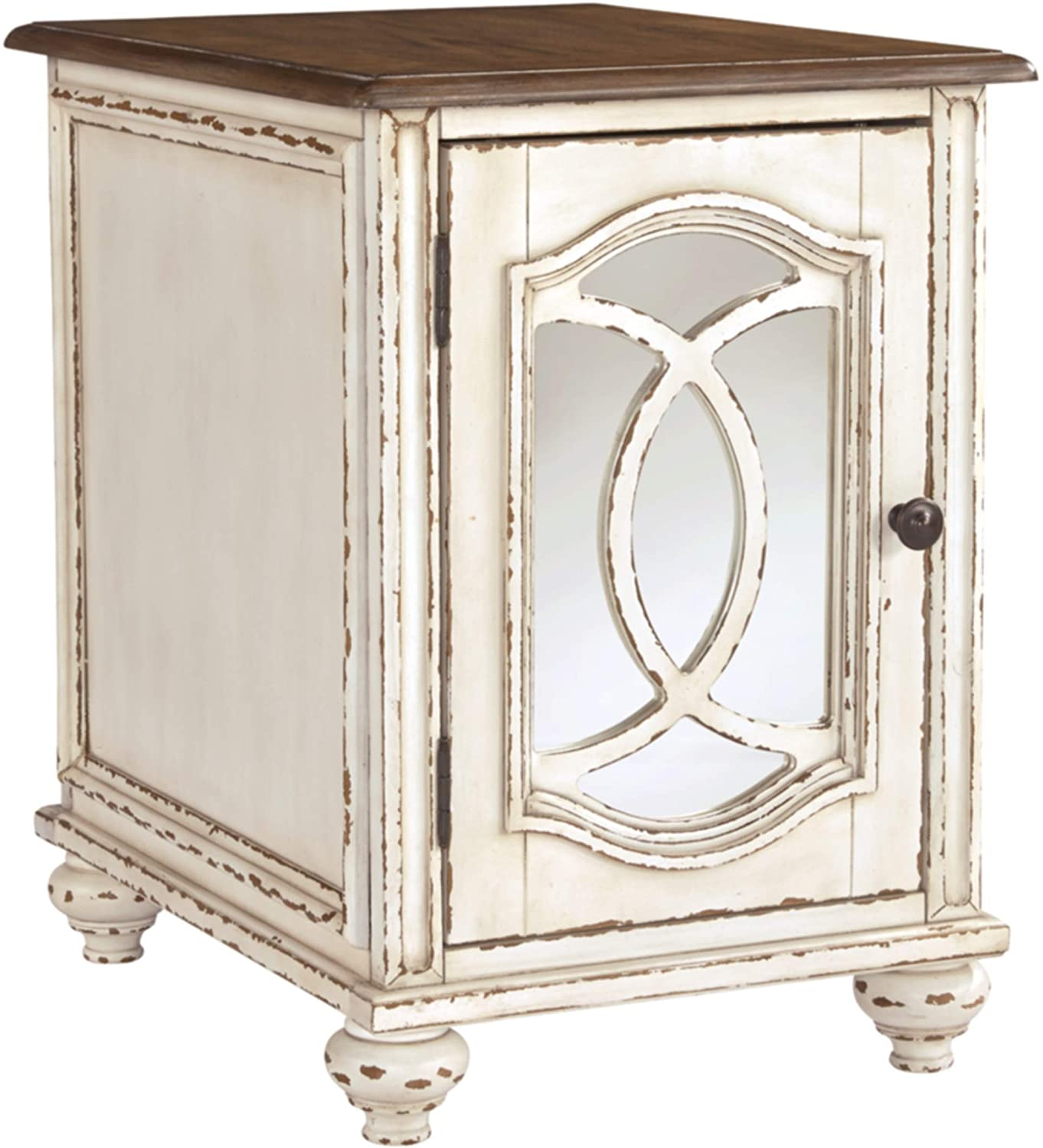 Signature Design by Ashley - Realyn Wooden End Table w/ Storage, White/Brown