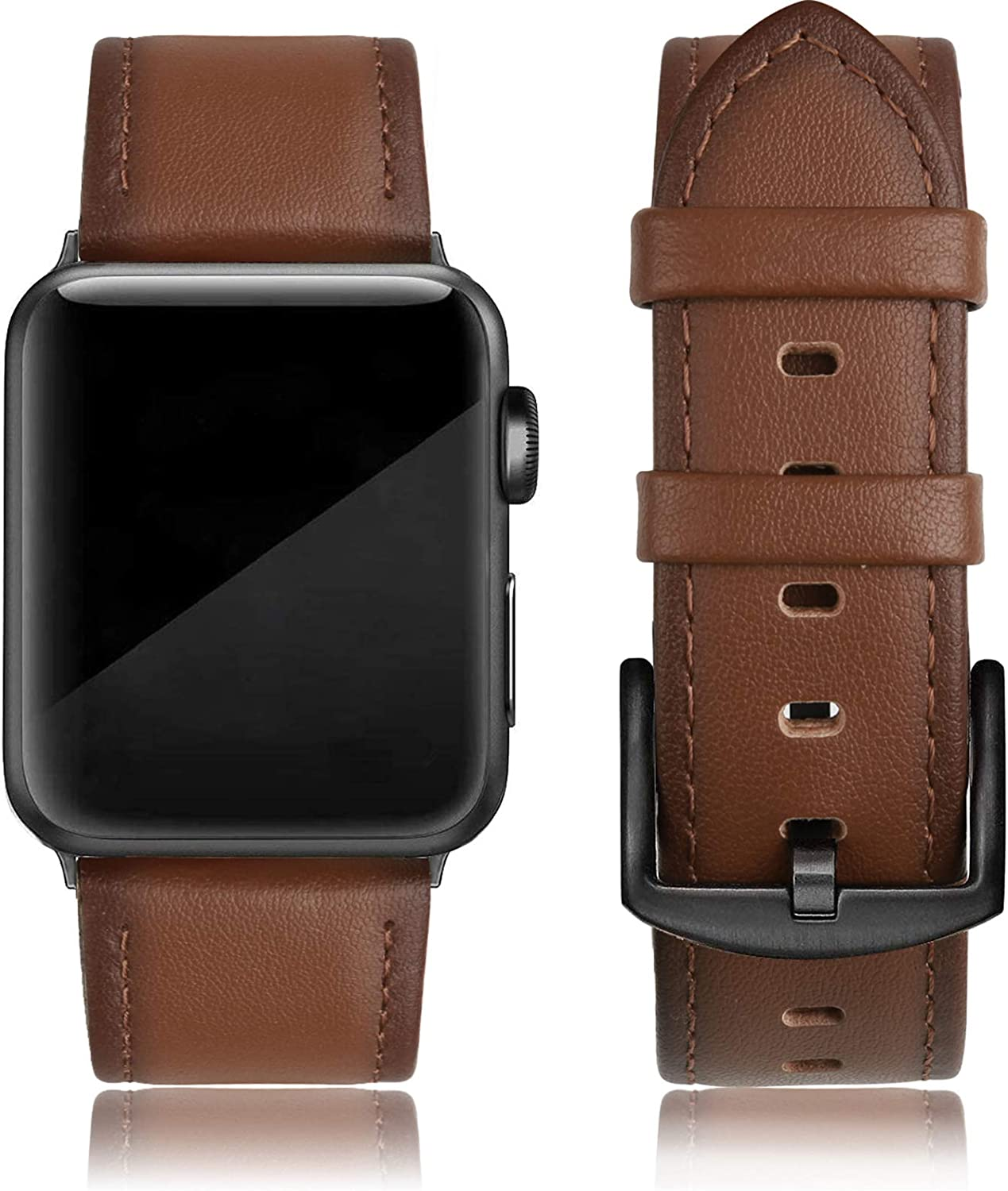 EDIMENS Leather Bands Compatible with Apple Watch 42mm 44mm Band Men Women, Vintage Genuine Leather Wristband Replacement Band Compatible for Apple Watch iwatch Series 6 5 4 3 2 1, SE Sports & Edition
