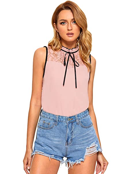 0408e8dfca77 SheIn Women's Casual Sleeveless Bow Tie Neck Lace Work Blouse Top Tank  Shirts at Amazon Women's Clothing store: