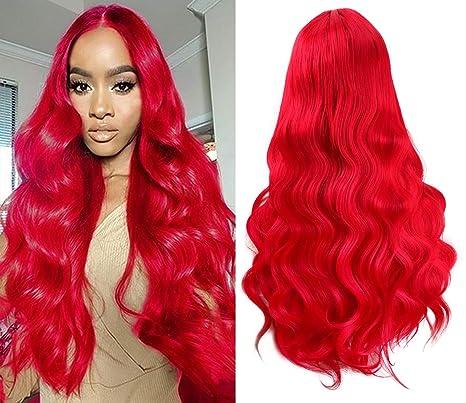 Golden Rule Ombre peluca a prueba de calor onda larga sin encaje parte media del pelo