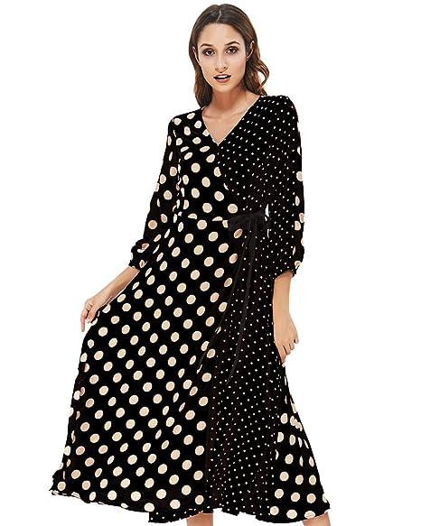 08ef4c5dc50e asdide 60s Women Classic Unqiue Maxi Dress Polka Dots V Neck Long Sleeves  Boho Side Split