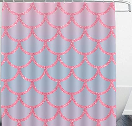 ARTS MAKER Mermaid Fish Scales Pink Shower Curtain Decoration With 12 Hooks Mildew Waterproof Polyester Fabric
