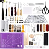 183Pcs Leather kit,Leathercraft Working Tool Kit with Saddle Making Tools Set,Leather Rivets Kit,Prong Punch,Leather Hammer f