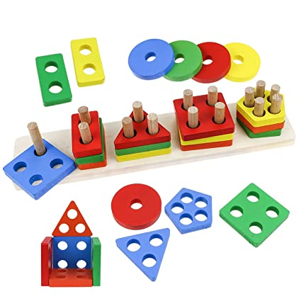 Amazoncom Fixget Wooden Building Blocks Set Kids Building Blocks