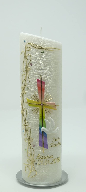 Taufkerze Regenbogen - Junge Mädchen - mit Perlmuttstuktur - golgfarbig mit Swarovski-Kristallen - 24x6 cm -1025 - mit