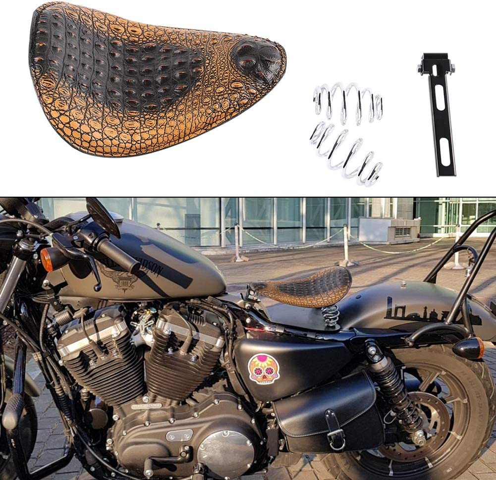GDAUTO Brown Alligator Emboss Leather Driver Solo Seat Springs Bracket Mounting Kit for Harley Sporster Bobber Chopper