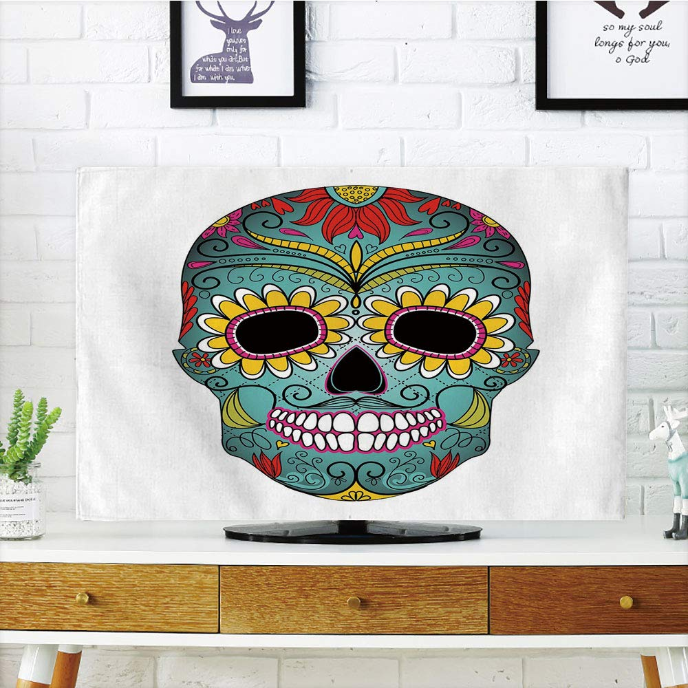 iPrint LCD TV dust Cover,Sugar Skull Decor,Folk Art Elements Featured Skull Day of The Dead Celebration Concept Decorative,Multicolor,3D Print Design Compatible 70'' TV