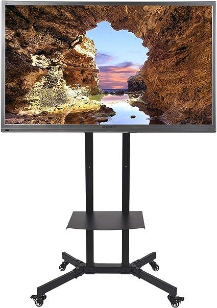 Soporte de TV móvil con estante de altura ajustable y soporte de pantalla plana para pantalla