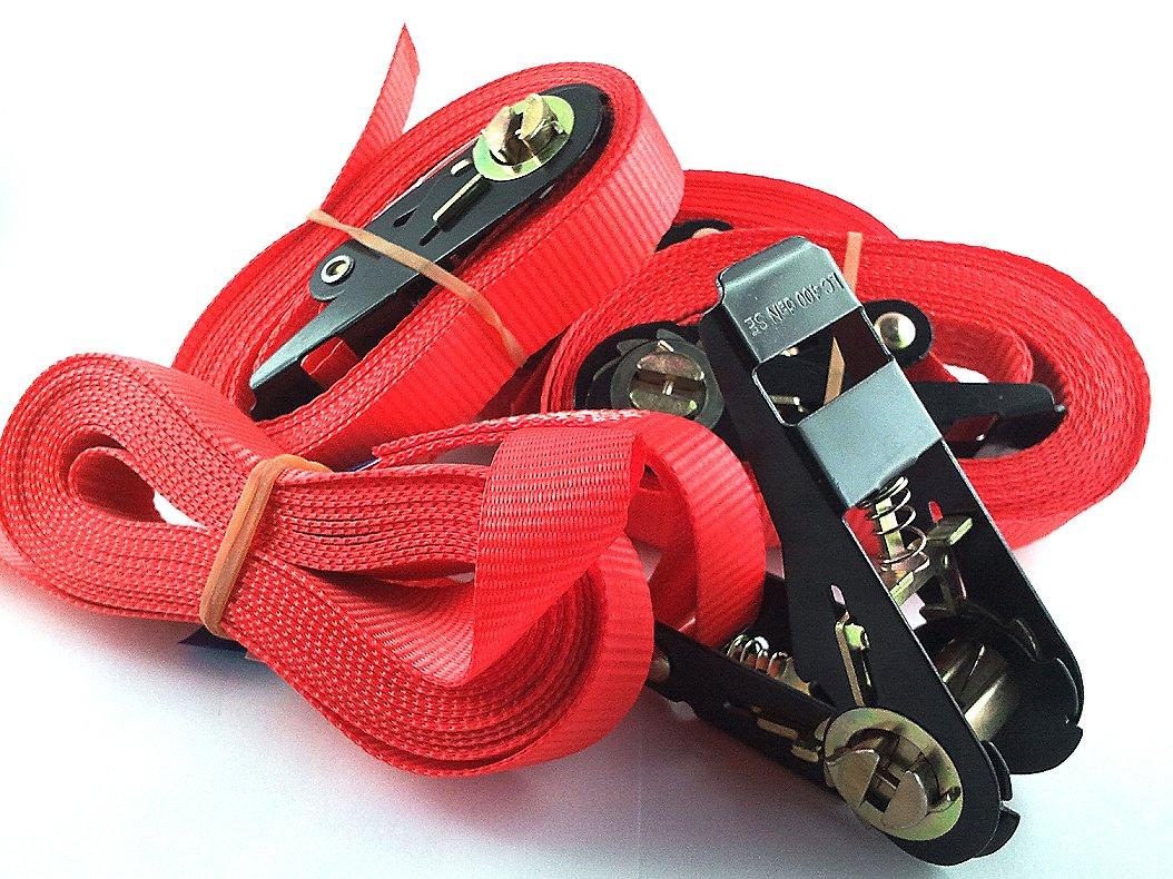 iapyx® 4x Sangle à cliquet avec cliquet 5metres en Standard Couleur: Rouge iapyx®