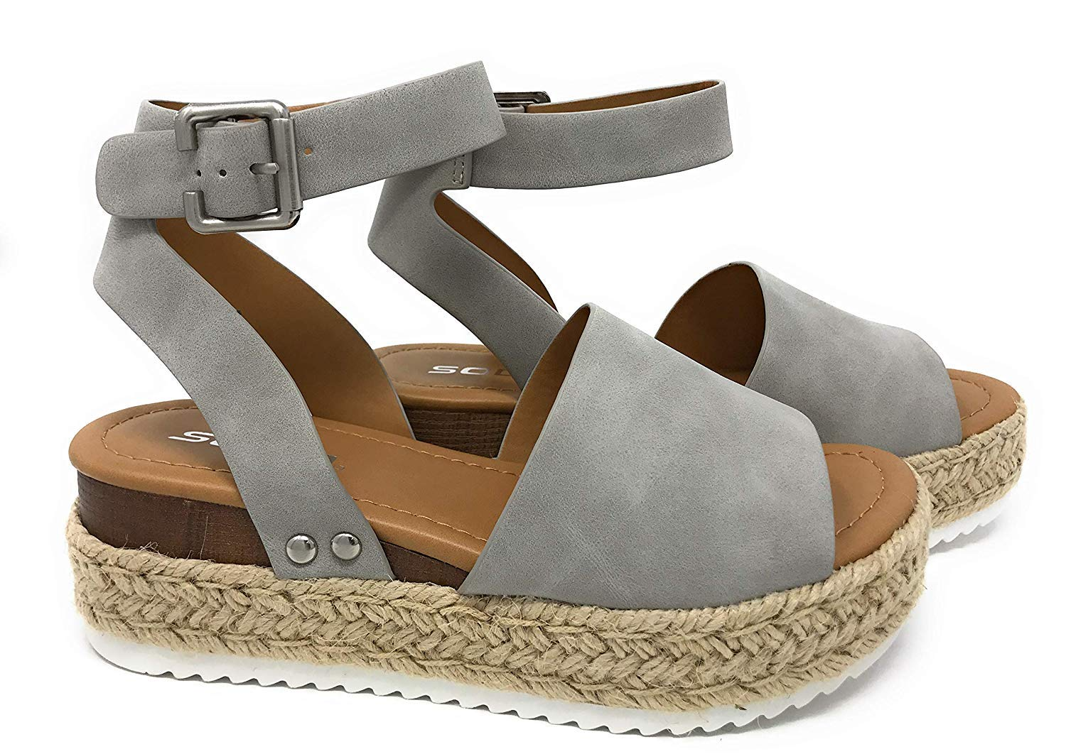 SODA Topic Grey Casual Espadrilles Trim Rubber Sole Flatform Studded Wedge Buckle Ankle Strap Open Toe (11)