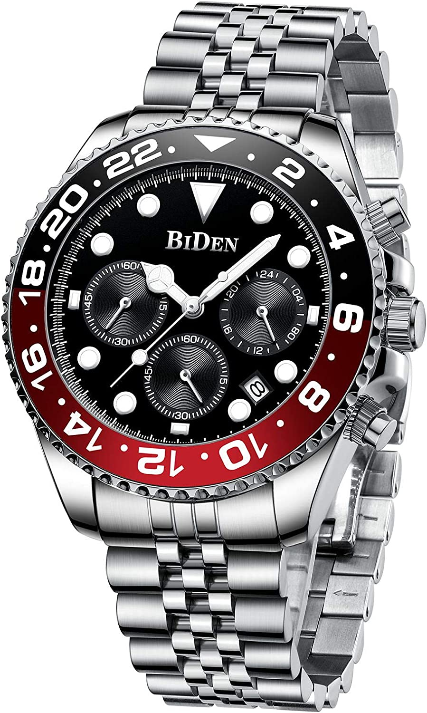 Relojes Hombre Cuarzo Cronógrafo Lmpermeable Relojes Fecha Business Casual Acero Inoxidable de Reloj de Pulsera
