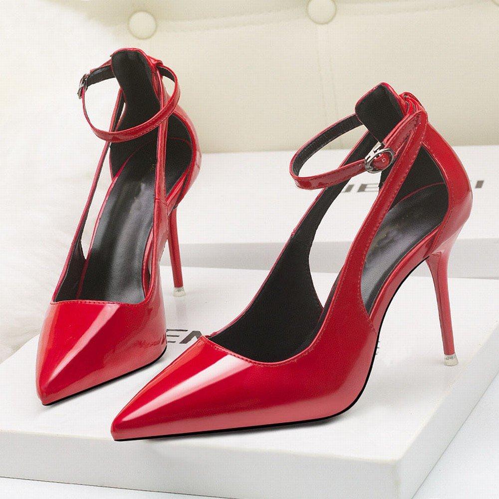 DHG Einfache Absatzschuhe der Westlichen Windmode Schuhen mit Spitzen Spitzen Hohlen Einzelnen Schuhen Windmode des Hohen Absatzes des Hohen Absatzes Ein 36 715c79