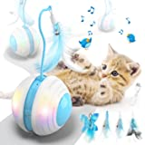 Biilaflor Interactive Cat Ball Toys with Bird Sound, Led Light, Detachable Protective Rubber Shell, USB Charging, Automatic 3