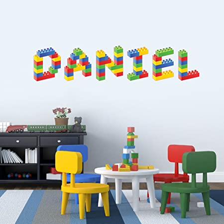 Personalised name in lego blocks childrens bedroom baby nursery wall sticker wall decal wall art vinyl