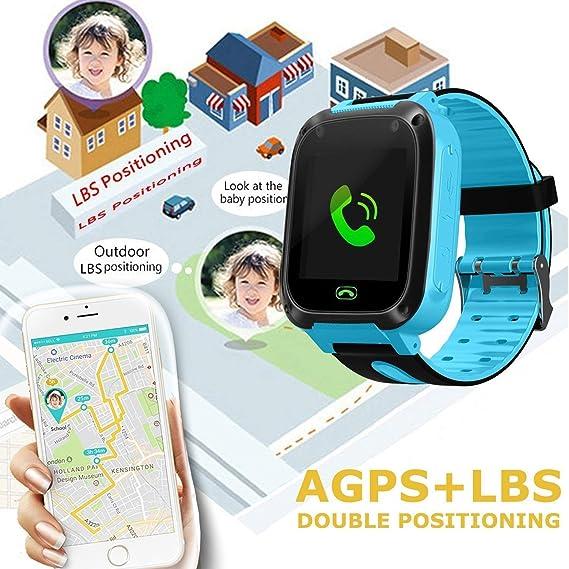 bhdlovely Reloj para Niños Smartwatch LBS/GPS Tracker para Niño y Niña Juego de Pantalla Táctil Smartwatch Actividades al Aire Libre Juguetes Regalos de ...