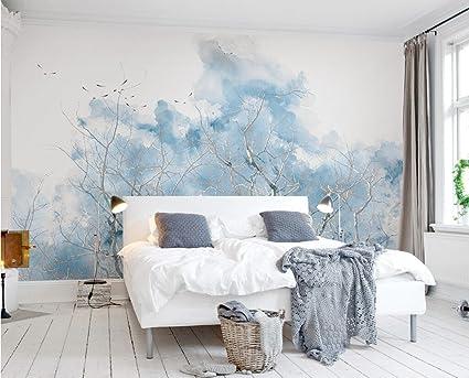 Carta Da Parati Adesiva Muro 3d Blu Pallido Succursali Acquerelli