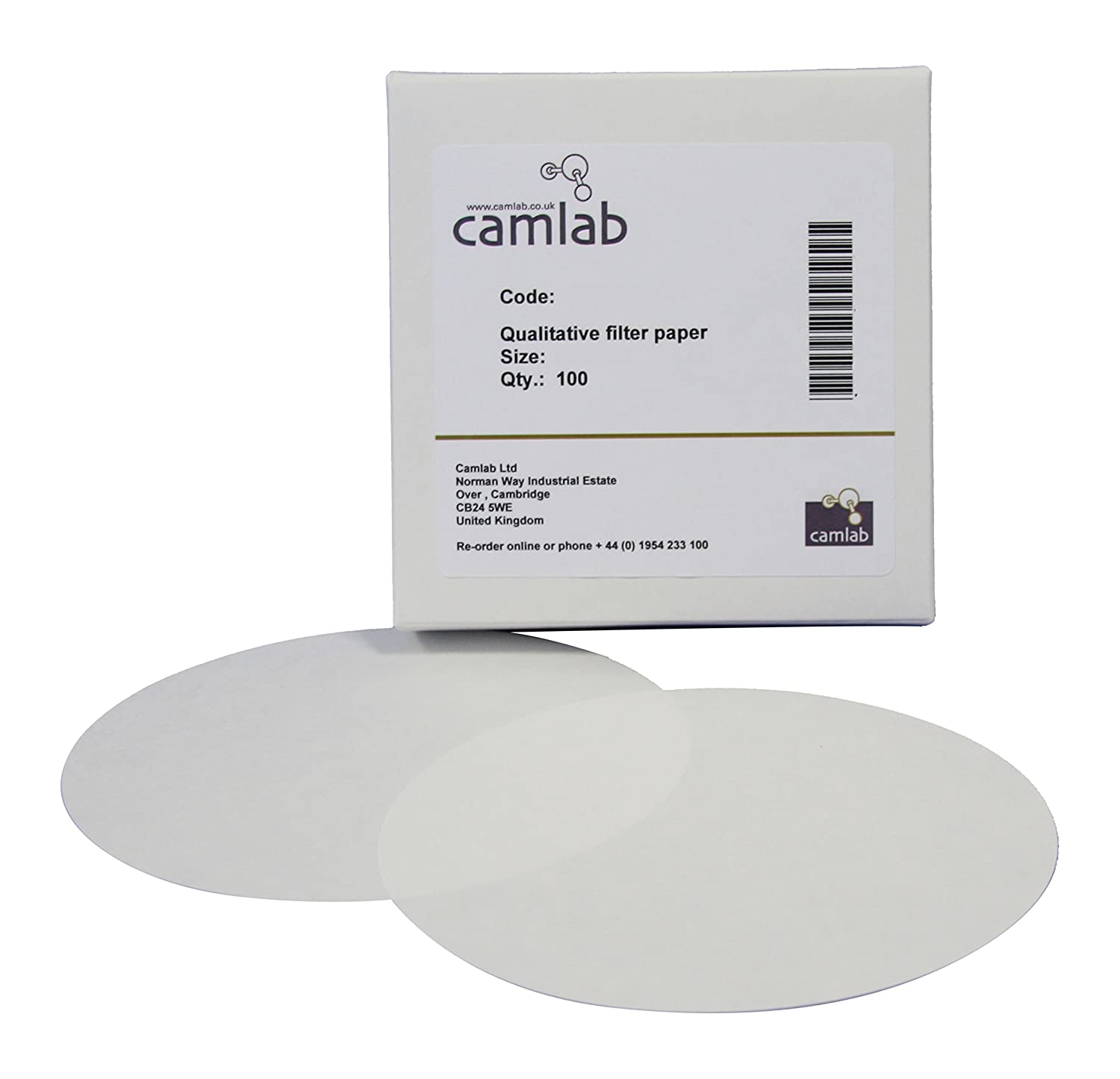 Camlab 1171066 Grade 111 [4] Qualitative Filter Paper, Fast Filtering, 42.5 mm Diameter (Pack of 100)