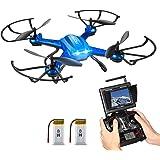 RC Quadrocopter Potensic Drohne mit 5.8GHz 6-Achsen-Gyro 2MP HD Karmera FPV Monitor Video Live Übertragung 3D Flip Funktion- Blau