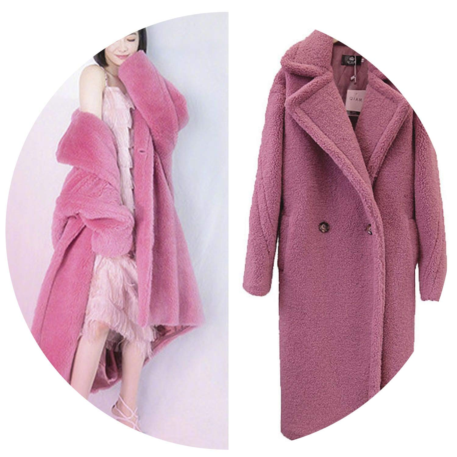 Pink Welcometoo 2019 Winter Thick Warm Long Teddy Trench Coat Women Lamb fur Wool Loose Fluffy Jacket fur Coat