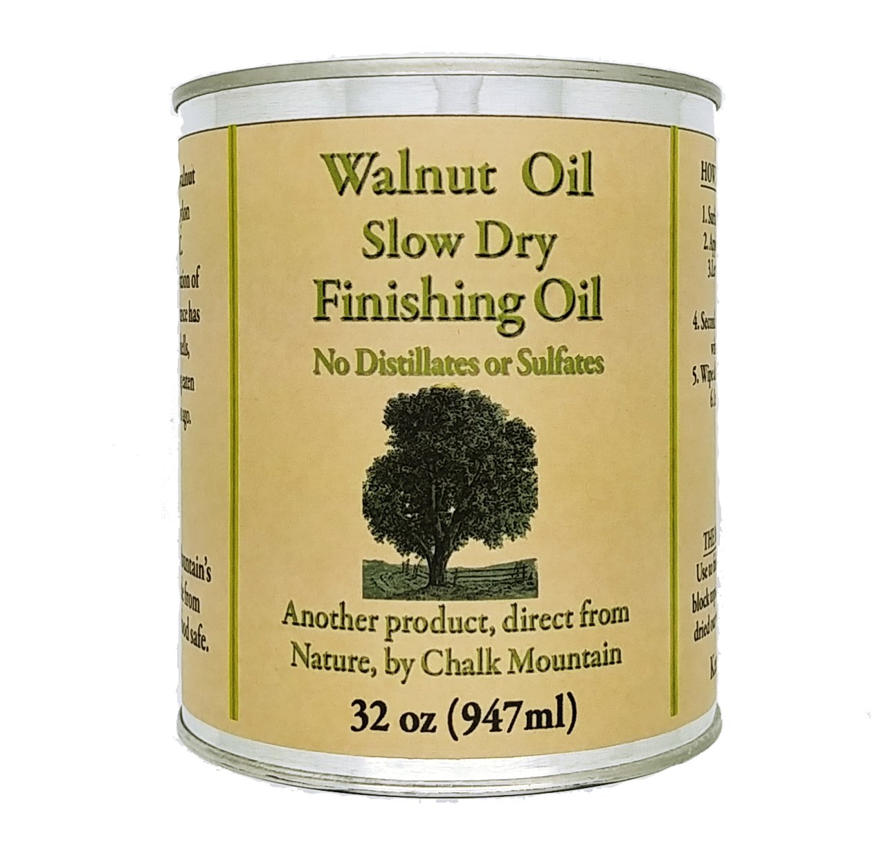 Chalk Mountain Walnut Oil Finisher - Food Safe - Great for Wood Bowls - Cutting Boards - Bare Wood - Much Much More (32 oz.) by Chalk Mountain Brushes (Image #2)