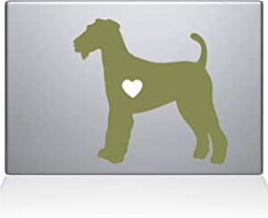"The Decal Guru Airedale Terrier Love Silhouette Decal Vinyl Sticker, 13"" MacBook Pro (2016 & Newer Models), Gold (2335-MAC-13X-G)"