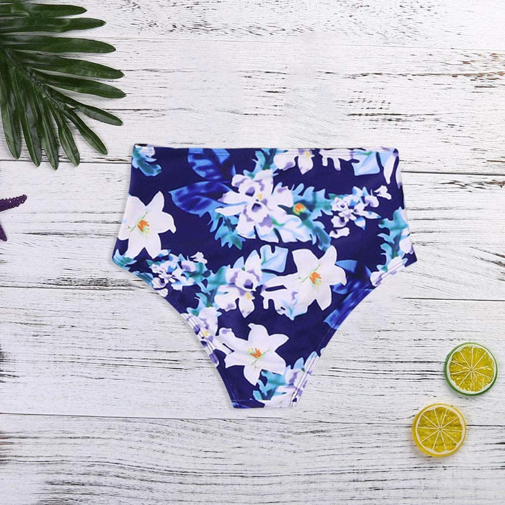 Rakkiss Womens Swim Bottom High Waist Retro Basic Leopard Full Coverage Bikini Tankini Swimsuit Briefs