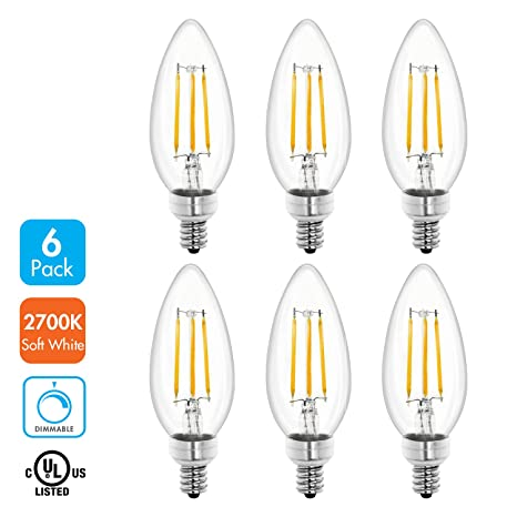 Tenergy Dimmable LED Candelabra Light Bulbs, 4W (40 Watt Equivalent ...
