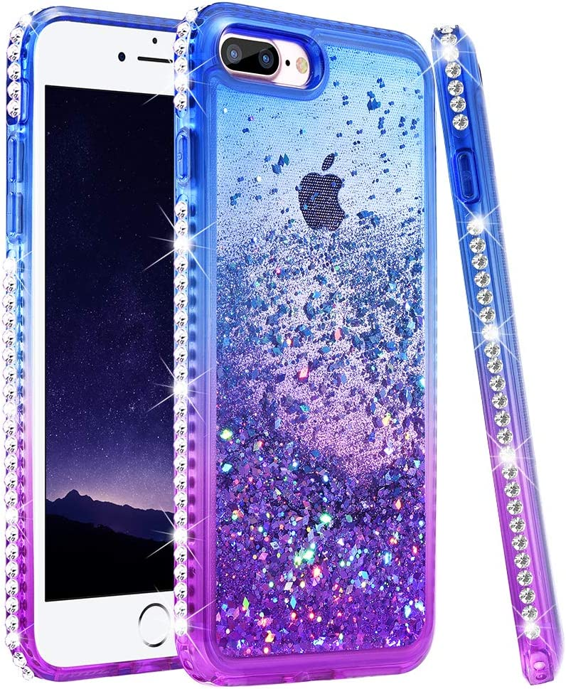 Ruky iPhone 6 Plus Case, iPhone 6s Plus Glitter Case, Colorful Quicksand Series Soft TPU Glitter Liquid Floating Bling Diamond Women Girls Case for iPhone 6 Plus/6s Plus/7 Plus/8 Plus (Blue Purple)