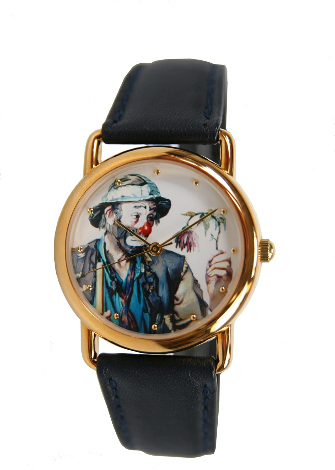 Unisex Gold-Tone Round Sad Hobo Clown Holding Wilted Flower Watch 7290GX