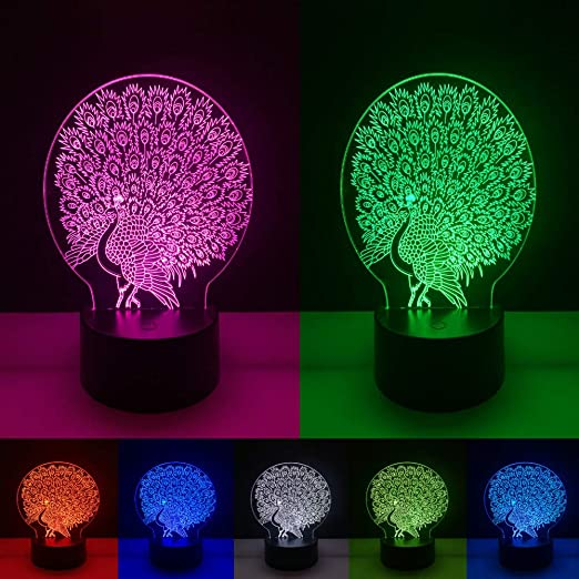 Nueva Luminaria hermosa pavo real pantalla abierta mesa luz ...