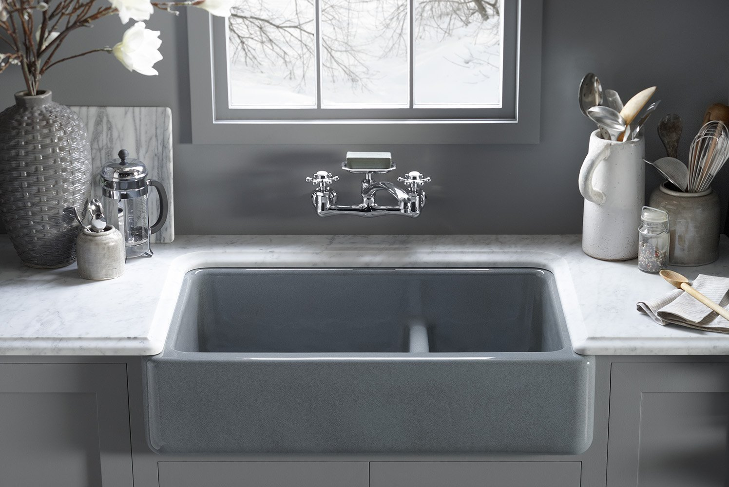 Kohler whitehaven apron sink - Kohler K 6426 0 Whitehaven Smart Divide Self Trimming Under Mount Apron Front Double Bowl Kitchen Sink With Short Apron 35 1 2 Inch X 21 9 16 Inch X