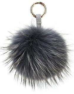 Vogueearth Real Large Fur Ball Pompoms Mobile Strap Keychain Bag Purse  Charm Dark Gray 8e5cd75565