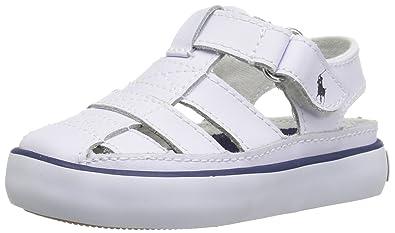 Polo Ralph Lauren Kids Boys\u0027 Sander II Lea Fisherman Sandal, White, 6 M