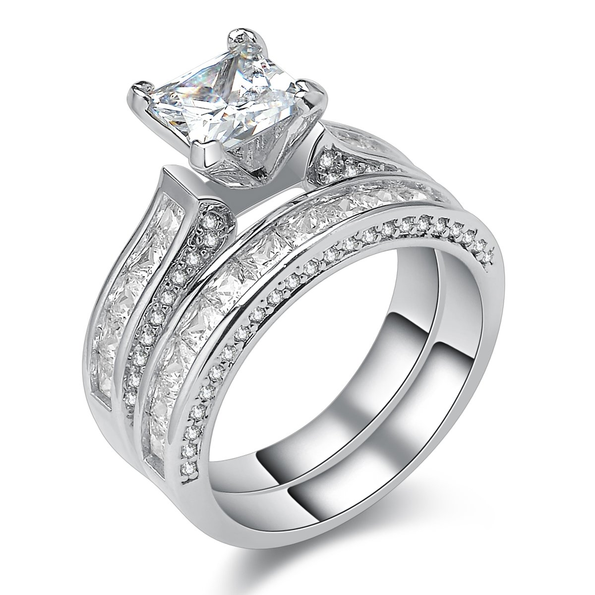 Newshe Jewellery Princess White Cz 925 Sterling Silver Wedding Band Engagement Ring Sets Size 5-10 JR4619_SS