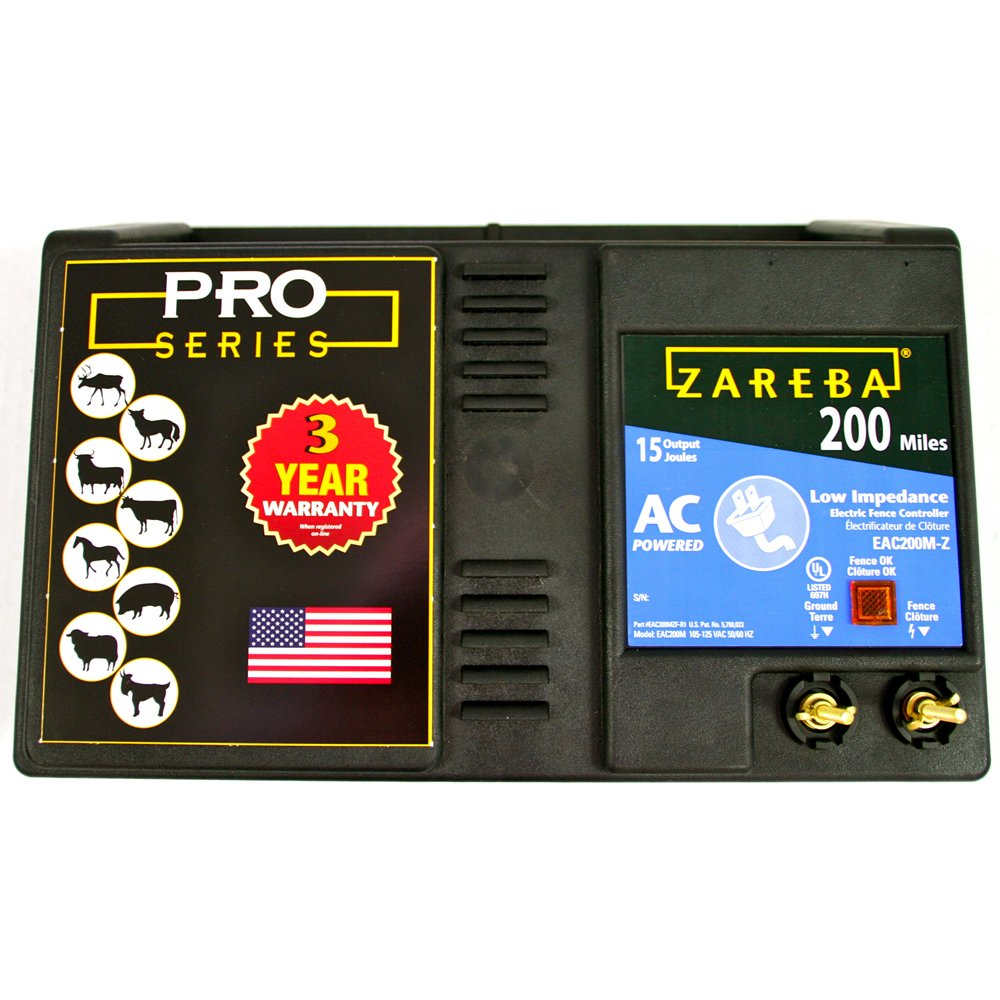 Zareba EAC200M-Z AC-Powered Low-Impedance 200-Mile-Range Charger w/ Free Storm Guard by Zareba