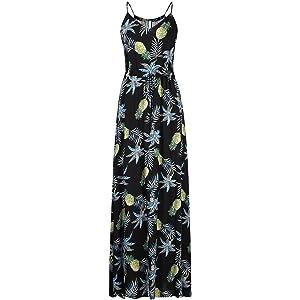 49c2931030 Leadingstar Women V Neck Spaghetti Strap Floral Print Drawstring Slim Waist  Summer Beach Maxi Dress