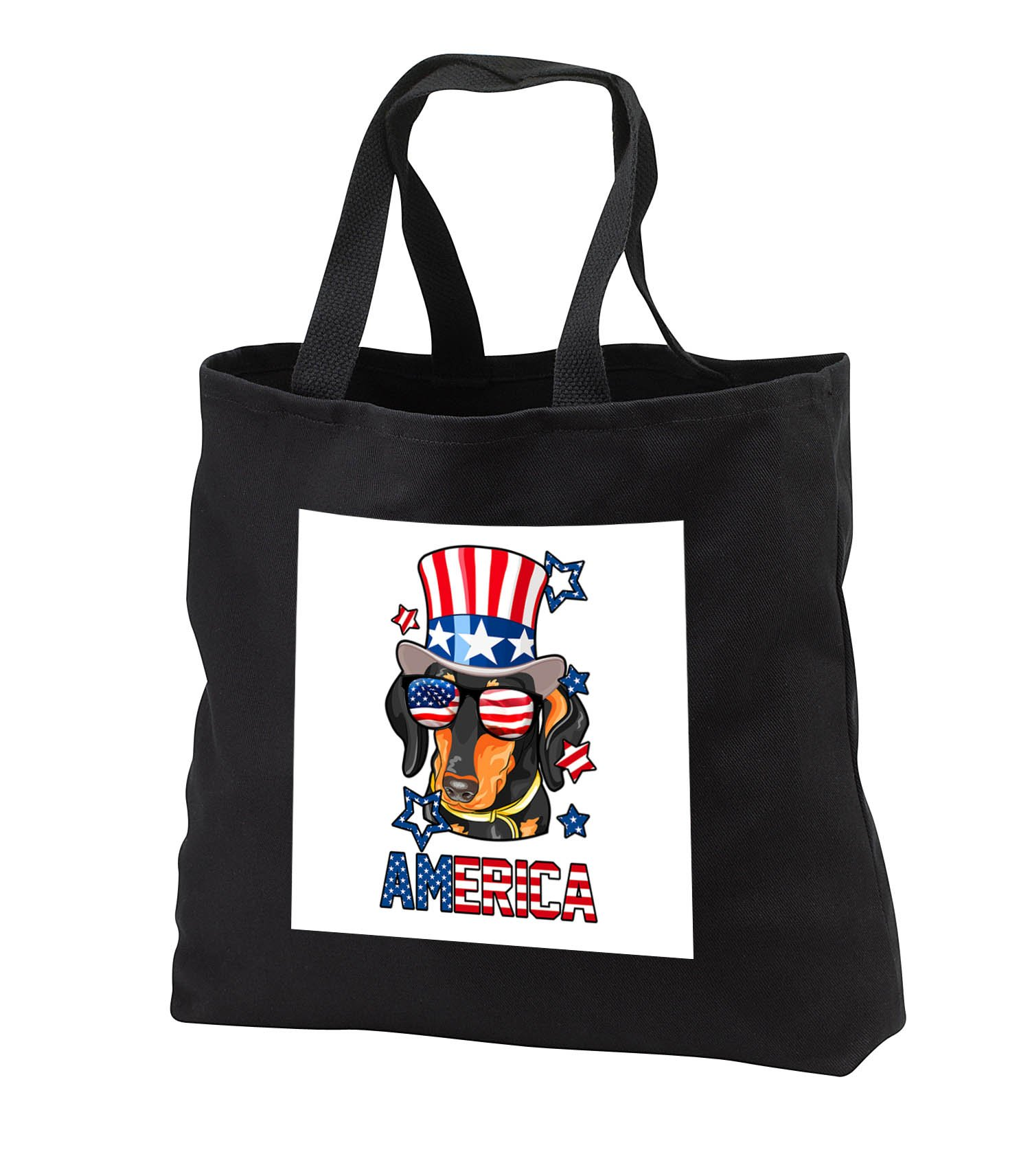 Patriotic American Dogs - Dachshund With American Flag Sunglasses and Tophat Dog America - Tote Bags - Black Tote Bag 14w x 14h x 3d (tb_284229_1)