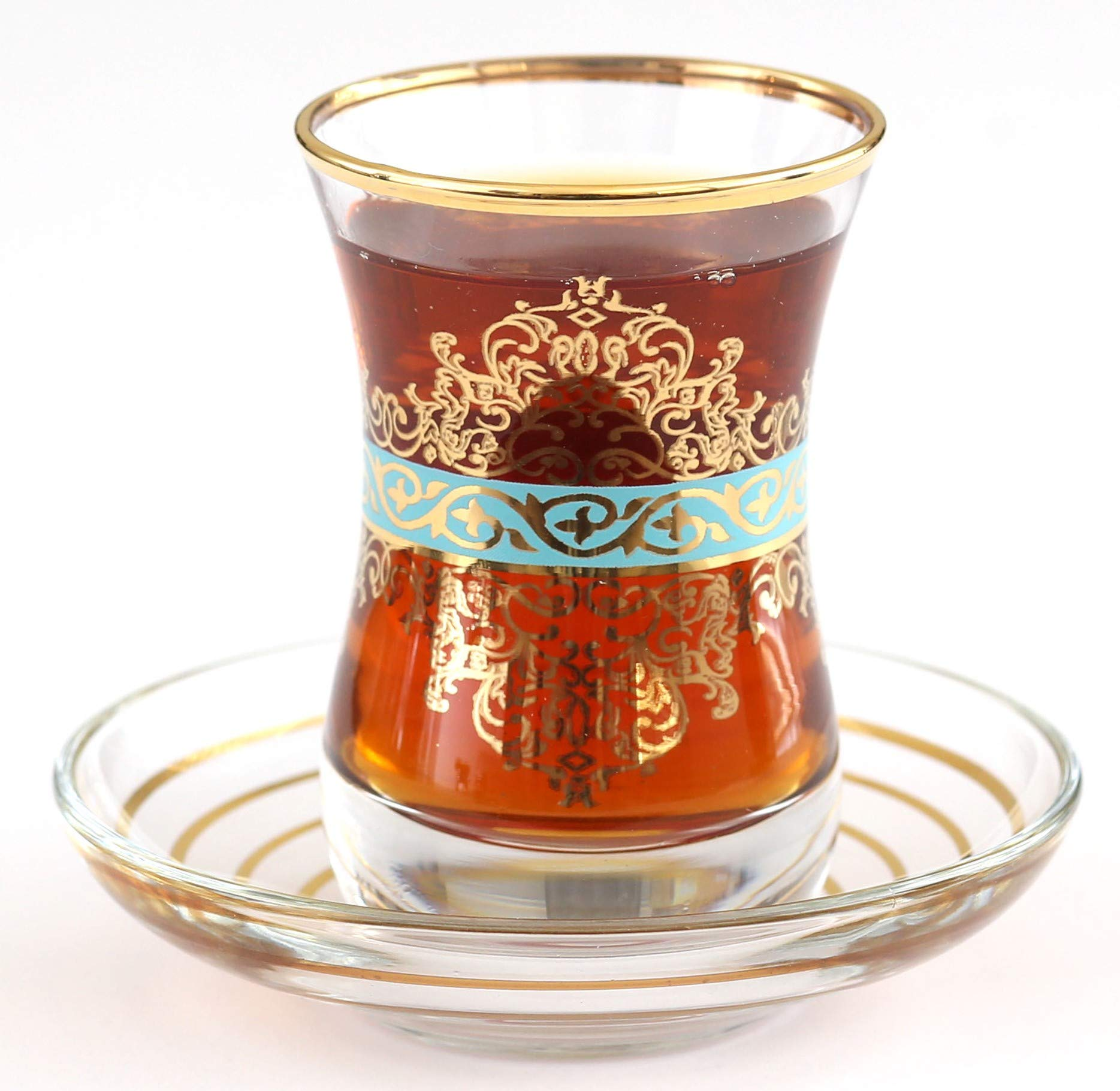 Top Quality Gold Plated Turkish Tea Glasses with Saucers Set of 6 - IRIS