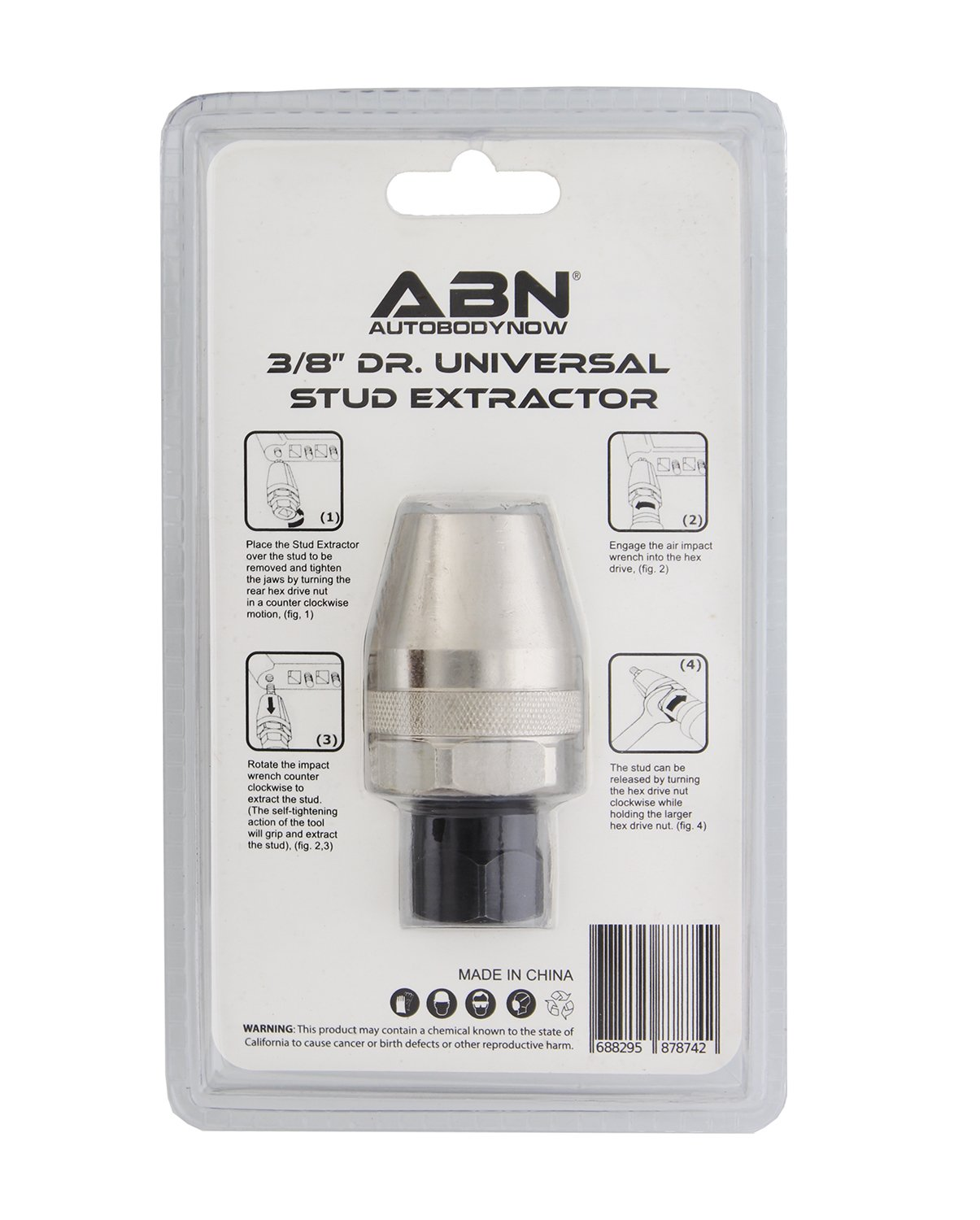 "ABN Universal Stud Bolt Extraction Remover, 3/8"" Inch Drive – 1/4"" to 1/2'' (6mm to 12mm) Studs Metric & SAE Removal Tool by ABN (Image #5)"