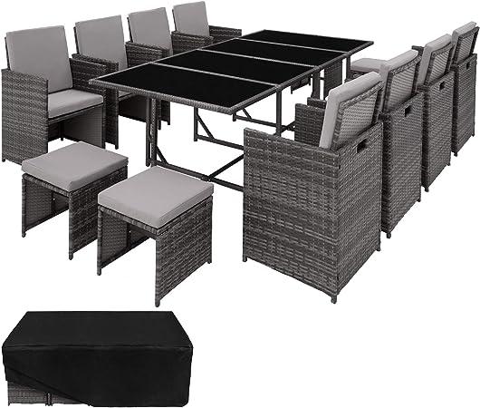 TecTake 403057 Poly Rattan 8+4+1 Sitzgruppe, 8 Stühle 4 Hocker 1 Tisch, als  Würfel verstaubar, inkl. Schutzhülle & Edelstahlschrauben, Grau