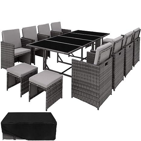 TecTake Conjunto Muebles de Jardín Ratán Sintético Comedor 8+4+1 + Funda Completa, Tornillos Acero Inoxidable (Gris | No. 403057)
