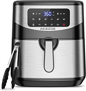 7.4 Quart Air Fryer, Acezoe 9 Presets Electric Air Fryers Oven with Preheat, 1700-Watt Hot Air Fryers with LED Digital Touchscreen,Nonstick Basket, 23 Recipes, Stainless Steel Large Vortex Air Fryers