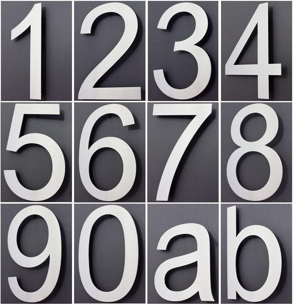 Hausnummer Edelstahl Design Arial ALLE ZAHLEN in 2D 3D H/öhe 20cm V2Aox Ziffer:7;Stil:2D