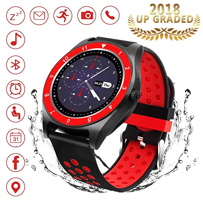 Bluetooth Smart Watch, Touch Screen Smart Wrist Watch with Camera Water-Resistant Fitness Tracker w/Pedometer Sports Smartwatch with SIM Card Slot ...