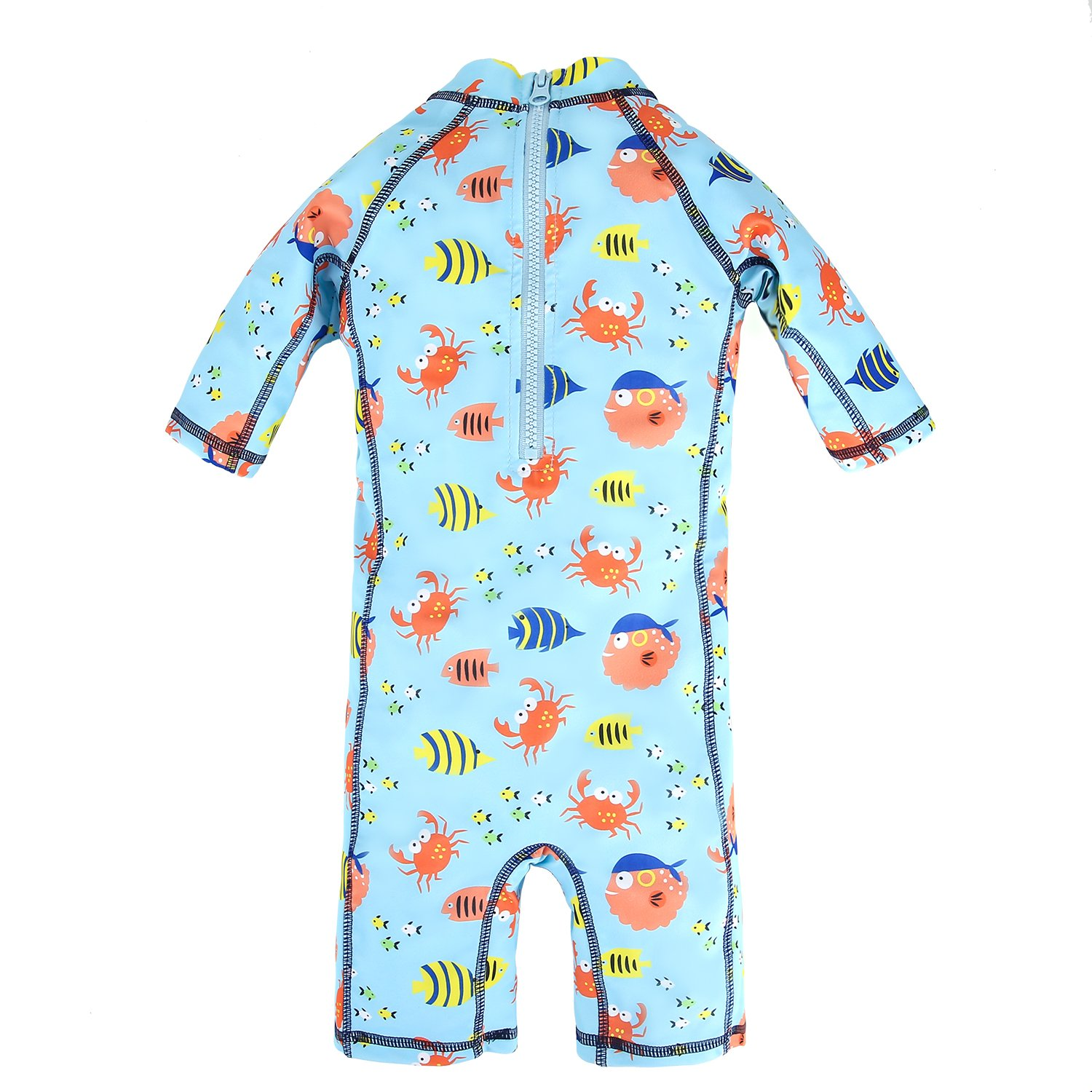 BIG ELEPHANT Kids Boys2 Pieces Anti UV Sun Protection Onesie Beach Swimsuit Swimwear with Hat