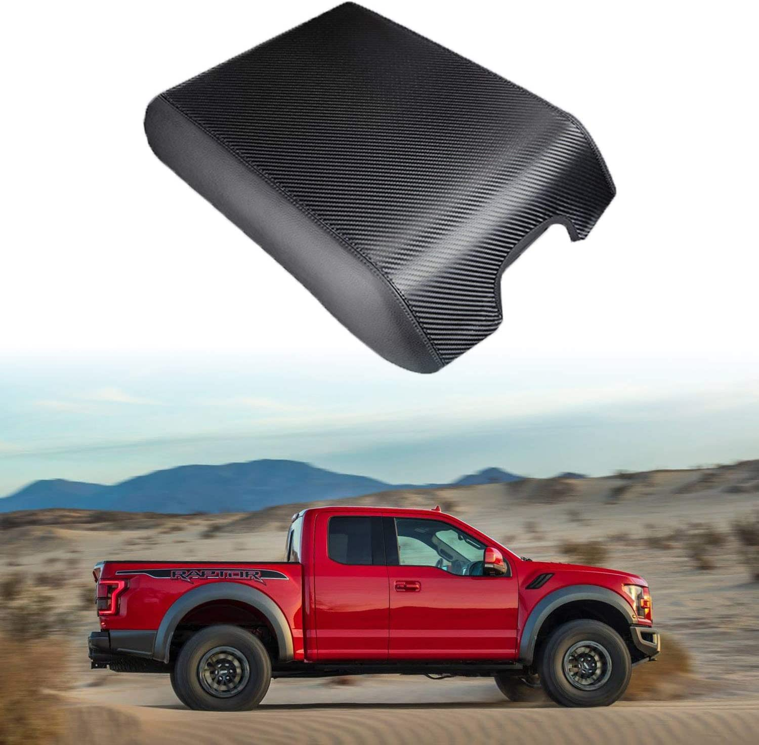 Center Console Cover Carbon Fiber Texture for Ford F150,F250,F350 2015-2019,Waterproof Anti-Scratch Car Console Cover,F150 Center Console Armrest Protector Cover Your Console Lid Must Match Photo