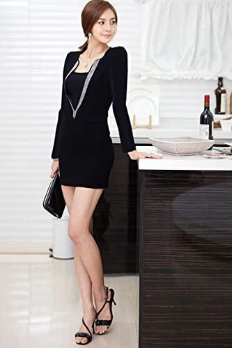 c459d3c511c55 Unomatch Women Sexy Short Body Fit Big V-Neck Bodycon Dress Black at Amazon  Women s Clothing store