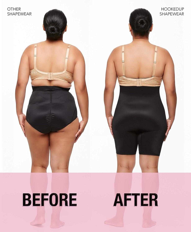 b55bdd5100 HookedUp Women s Thigh Shapewear Firm Tummy Control High Waist Shaper  Slimmer for Women Plus Size Hooks to Bra at Amazon Women s Clothing store